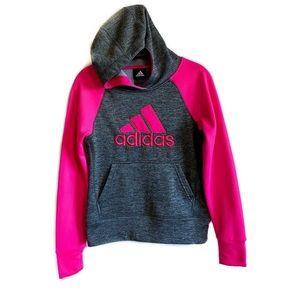 Adidas girls pink logo hoodie sweatshirt